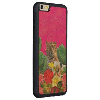 Florescent Pink Tiger Floral Oil Brush Carved Maple iPhone 6 Plus Bumper Case