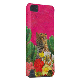 Florescent Pink Tiger Floral Oil Brush iPod Touch (5th Generation) Case