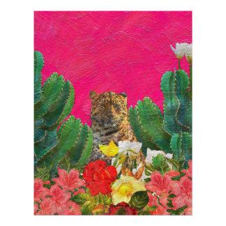 Florescent Pink Tiger Floral Oil Brush Letterhead