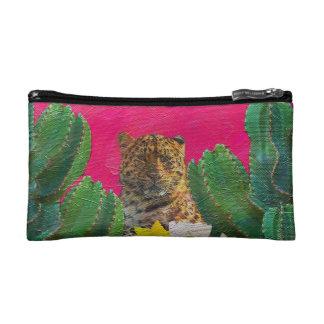 Florescent Pink Tiger Floral Oil Brush Makeup Bag