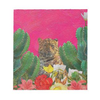 Florescent Pink Tiger Floral Oil Brush Notepad