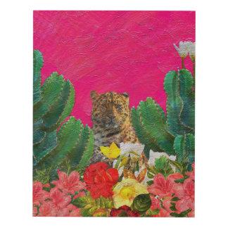 Florescent Pink Tiger Floral Oil Brush Panel Wall Art