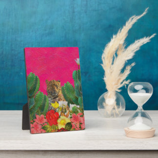 Florescent Pink Tiger Floral Oil Brush Plaque