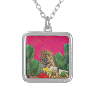 Florescent Pink Tiger Floral Oil Brush Square Pendant Necklace