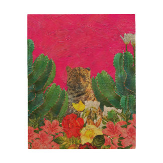 Florescent Pink Tiger Floral Oil Brush Wood Wall Art