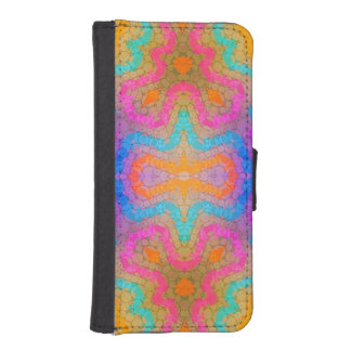Florescent Pink Turquoise Abstract iPhone SE/5/5s Wallet