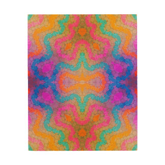 Florescent Pink Turquoise Abstract Wood Wall Art
