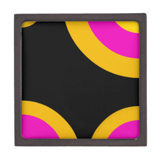 Florescent Pink Yellow Retro Pattern Keepsake Box