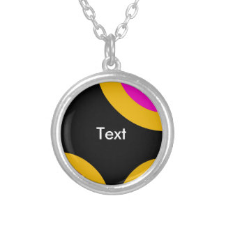 Florescent Pink Yellow Retro Pattern Silver Plated Necklace