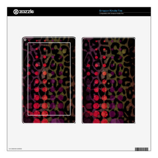 Florescent Polka-dot Cheetah Kindle Fire Decals