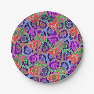 Florescent Purple Blue Cheetah Abstract Paper Plate