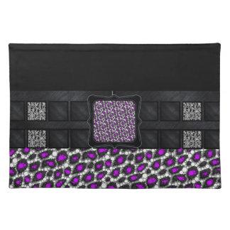 Florescent Purple Cheetah Monogram Cloth Place Mat