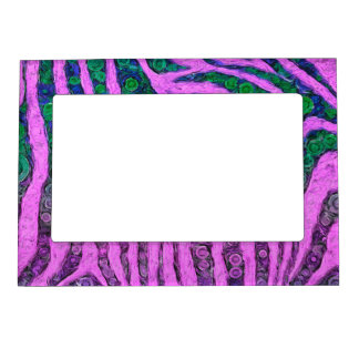 Florescent Purple Green Zebra Abstract Magnetic Photo Frame