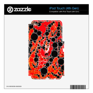 Florescent Red Orange Abstract Decal For iPod Touch 4G