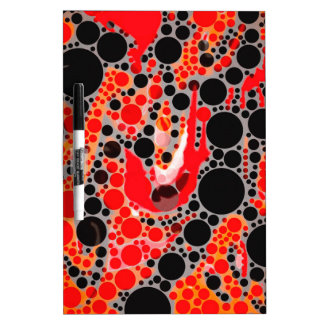 Florescent Red Orange Abstract Dry Erase Board
