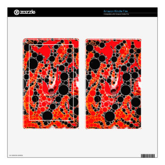 Florescent Red Orange Abstract Kindle Fire Skin