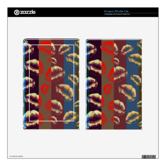 Florescent Red Striped Lips Kindle Fire Decals