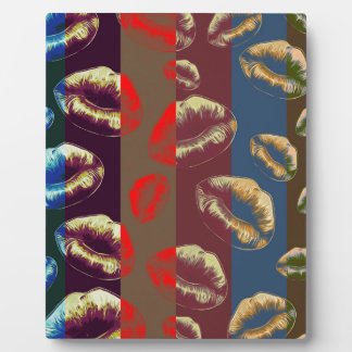 Florescent Red Striped Lips Plaque