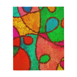 Florescent Red Turquoise Yellow Abstract Wood Wall Art