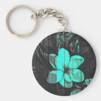 Florescent Turquoise Flowers Wood Basic Round Button Keychain