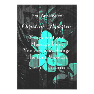Florescent Turquoise Flowers Wood Card