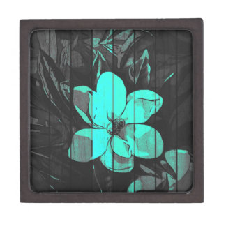 Florescent Turquoise Flowers Wood Jewelry Box