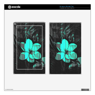 Florescent Turquoise Flowers Wood Kindle Fire Skins