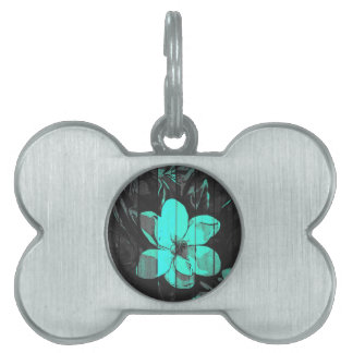 Florescent Turquoise Flowers Wood Pet Tag