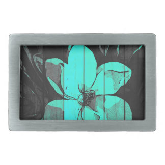 Florescent Turquoise Flowers Wood Rectangular Belt Buckle