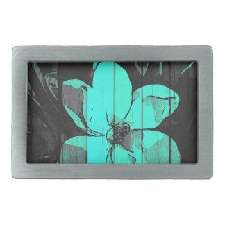 Florescent Turquoise Flowers Wood Rectangular Belt Buckle