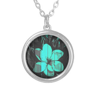 Florescent Turquoise Flowers Wood Silver Plated Necklace