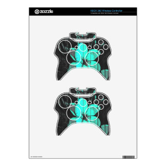 Florescent Turquoise Flowers Wood Xbox 360 Controller Skin