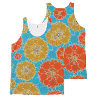 Florescent Turquoise Orange Abstract Flowers All-Over-Print Tank Top