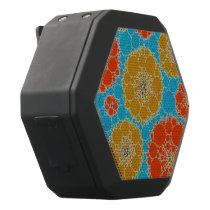 Florescent Turquoise Orange Abstract Flowers Black Bluetooth Speaker