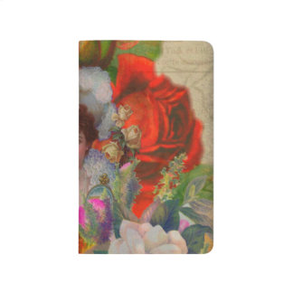 Florescent Vintage Woman Flower Collage Journal