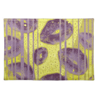 Florescent Yellow Lavender Lips Cloth Placemat