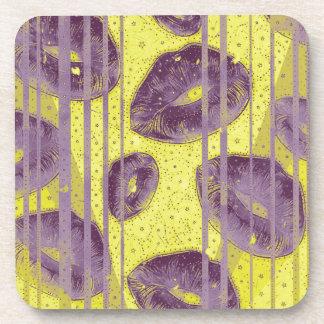 Florescent Yellow Lavender Lips Coaster