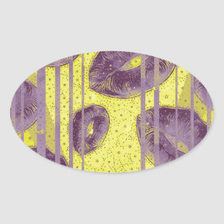 Florescent Yellow Lavender Lips Oval Sticker