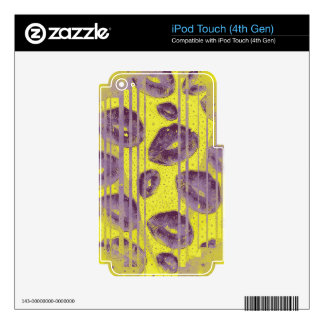 Florescent Yellow Lavender Lips Skins For iPod Touch 4G
