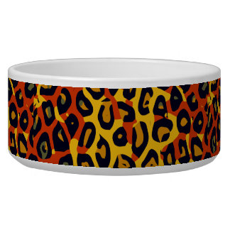 Florescent Yellow Orange Vector Cheetah Bowl