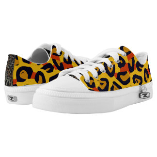 Florescent Yellow Orange Vector Cheetah Low-Top Sneakers