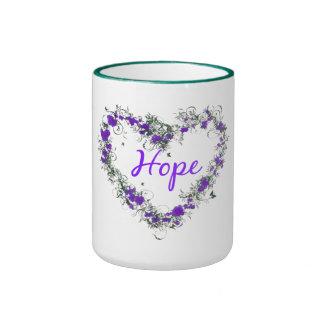 Florezca el corazón de la esperanza taza del