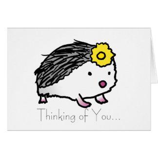 florezca el erizo, pensando en usted… tarjeta de felicitación