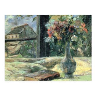 Florezca en el florero en la ventana - Paul Gaugui Postales