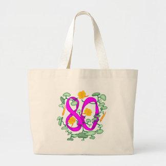 Florezca los 80.os regalos de cumpleaños bolsa tela grande