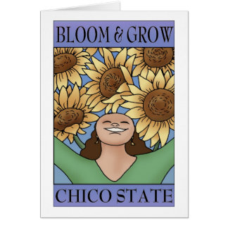 Florezca y crezca el estado de Chico (el azul púrp Tarjeta De Felicitación