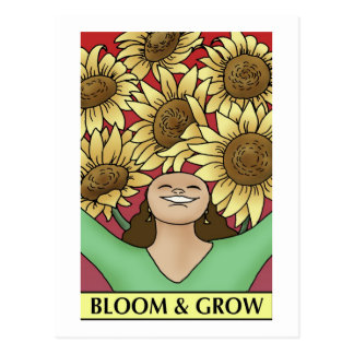 Florezca y crezca postales