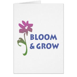 Florezca y crezca tarjeta de felicitación