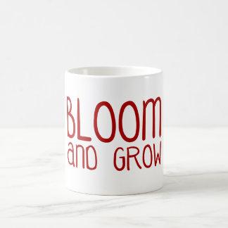 Florezca y crezca taza básica blanca