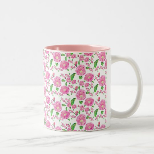 Floribunda Ditsy Rose Two-Tone Coffee Mug